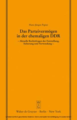 Das Parteivermögen in der ehemaligen DDR