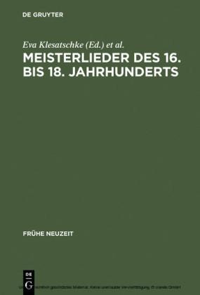 Meisterlieder des 16. bis 18. Jahrhunderts