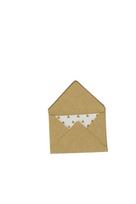 Briefpapier-Set MINI, Umschläge: Kraftpapier Natur, Karten: Goldgemustert
