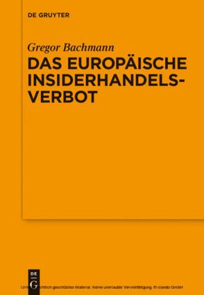 Das Europäische Insiderhandelsverbot