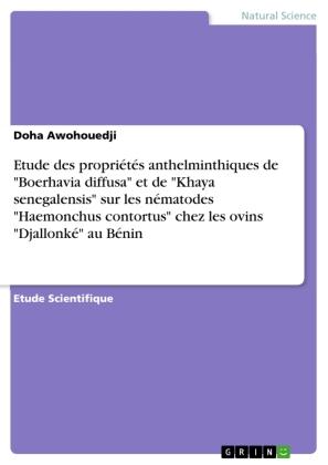 """Etude des propriétés anthelminthiques de """"Boerhavia diffusa"""" et de """"Khaya senegalensis"""" sur les nématodes """"Haemonchus co"""