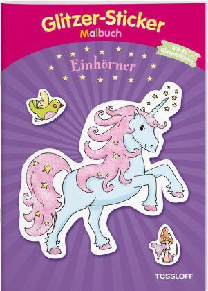 Glitzer-Sticker Malbuch. Einhörner