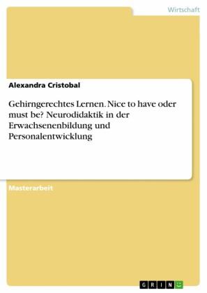 Gehirngerechtes Lernen. Nice to have oder must be? Neurodidaktik in der Erwachsenenbildung und Personalentwicklung