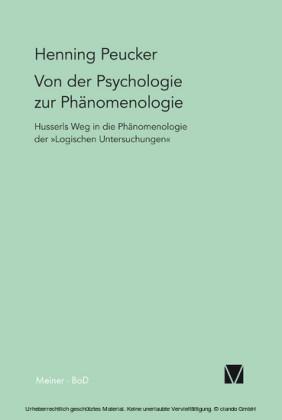 Von der Psychologie zur Phänomenologie