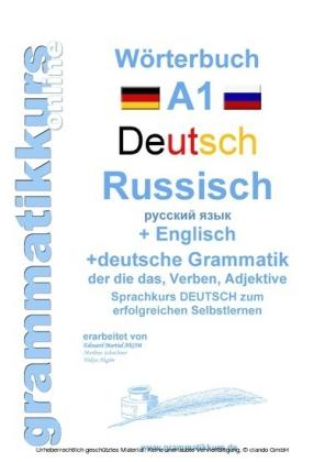 Wörterbuch Deutsch - Russisch - Englisch Niveau A1