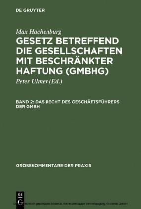 Das Recht des Geschäftsführers der GmbH. Bd.2