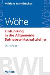 Einführung in die Allgemeine Betriebswirtschaftslehre Cover