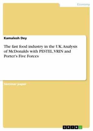 The fast food industry in the UK. Analysis of McDonalds with PESTEL, VRIN and Porter's Five Forces