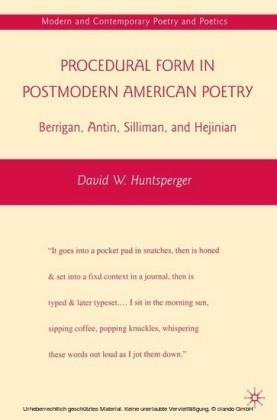 Procedural Form in Postmodern American Poetry