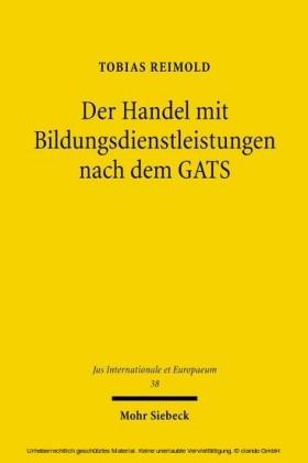 Der Handel mit Bildungsdienstleistungen nach dem GATS
