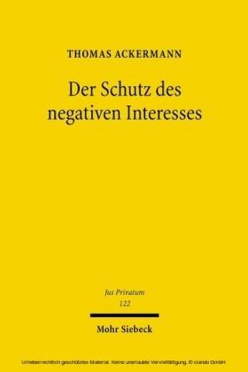 Der Schutz des negativen Interesses