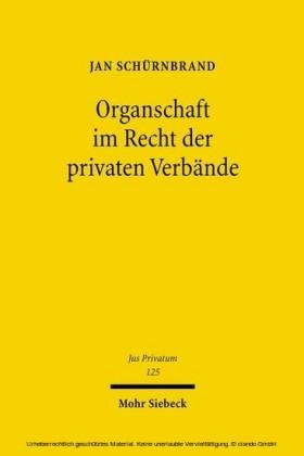 Organschaft im Recht der privaten Verbände