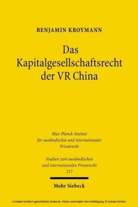 Das Kapitalgesellschaftsrecht der VR China