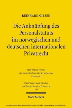 Die Anknüpfung des Personalstatuts im norwegischen und deutschen internationalen Privatrecht