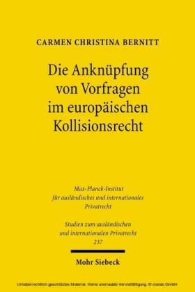 Die Anknüpfung von Vorfragen im europäischen Kollisionsrecht