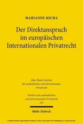 Der Direktanspruch im europäischen Internationalen Privatrecht