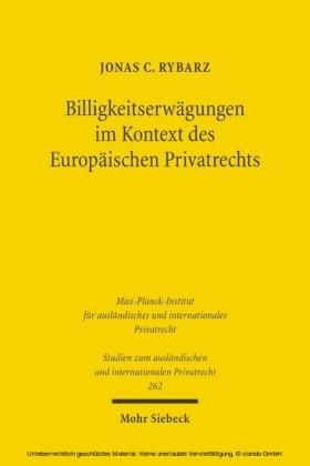 Billigkeitserwägungen im Kontext des Europäischen Privatrechts