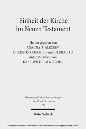 Einheit der Kirche im Neuen Testament