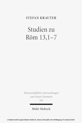Studien zu Röm 13,1-7