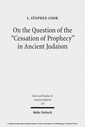 On the Question of the 'Cessation of Prophecy' in Ancient Judaism