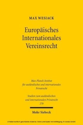 Europäisches Internationales Vereinsrecht