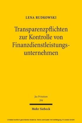 Transparenzpflichten zur Kontrolle von Finanzdienstleistungsunternehmen