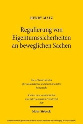 Regulierung von Eigentumssicherheiten an beweglichen Sachen