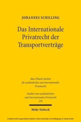 Das Internationale Privatrecht der Transportverträge