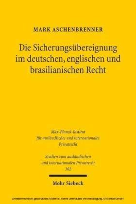 Die Sicherungsübereignung im deutschen, englischen und brasilianischen Recht