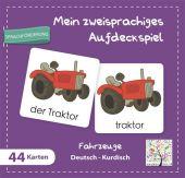Mein zweisprachiges Aufdeckspiel, Fahrzeuge Deutsch-Kurdisch (Kinderspiel) Cover