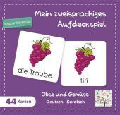 Mein zweisprachiges Aufdeckspiel, Obst und Gemüse, Deutsch-Kurdisch (Kinderspiel) Cover