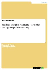 Methods of Equity Financing - Methoden der Eigenkapitalfinanzierung