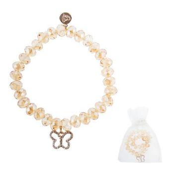 Armband Glasstein - gold - Schmetterling mit Kristallen - Element in roségold