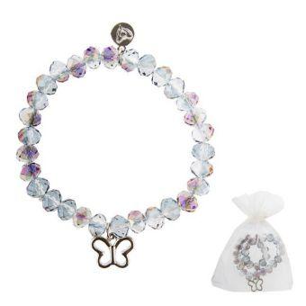 Armband Glasstein - graublau - Schmetterling - Element in silber