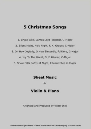 5 Christmas Songs Sheet Music for Violin & Piano