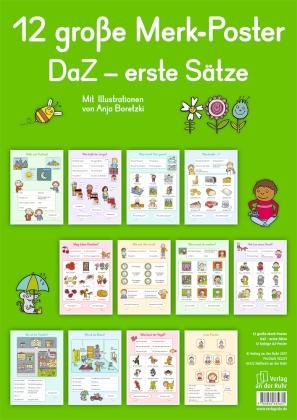 Merk-Poster DaZ - erste Sätze, 12 farbige DIN-A2-Poster