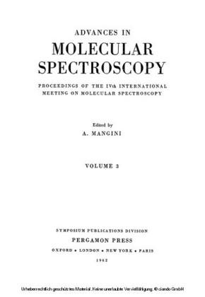 Advances in Molecular Spectroscopy