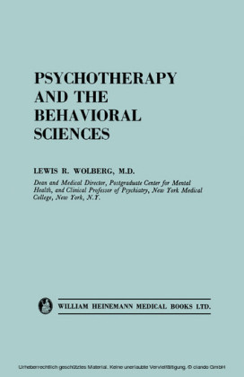 Psychotherapy and the Behavioral Sciences
