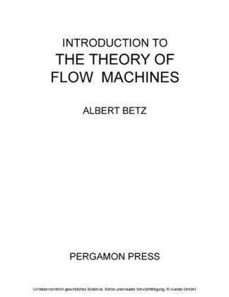 Introduction to the Theory of Flow Machines