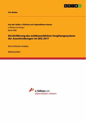 Die Einführung des wettbewerblichen Vergütungssystems der Ausschreibungen im EEG 2017