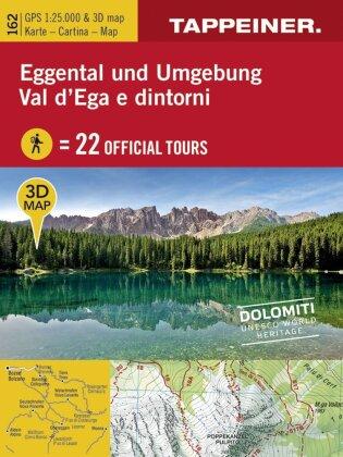 3D-Wanderkarte Eggental und Umgebung / Cartina escursionistica 3D Val d'ega e dintorni