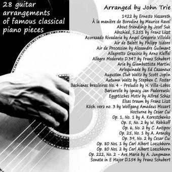 28 guitar arrangements of famous classical piano pieces