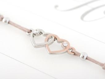 Armband mit Element & Kristallen - Herz an Herz