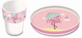 2er-Geschirr-Set Flamingo