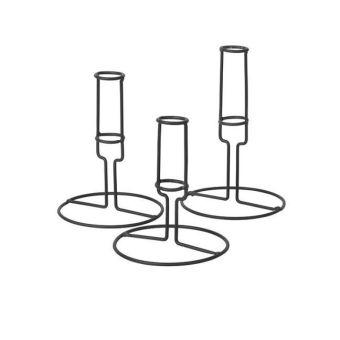 Broste copenhagen Kerzenhalter, 3-teilig, Dunkelgrau