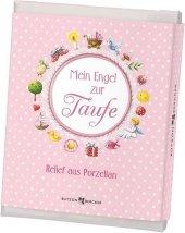 Mein Engel (rosa), Relief zur Taufe m. Buch Cover