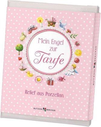 Mein Engel (rosa), Relief zur Taufe m. Buch