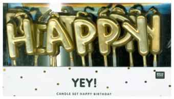 Kerzen Happy Birthday, Gold