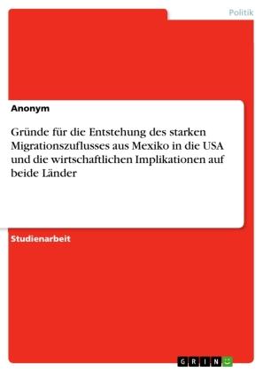 Gründe für die Entstehung des starken Migrationszuflusses aus Mexiko in die USA und die wirtschaftlichen Implikationen a
