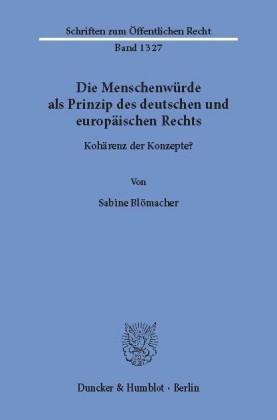 Die Menschenwürde als Prinzip des deutschen und europäischen Rechts.